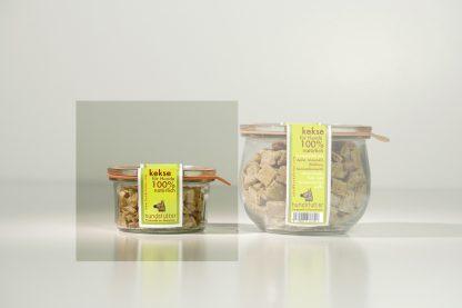 Weiche, vegane, glutenfreie Hundesnacks mit Apfel/Nuss - 80 gr. im Vakuumglas