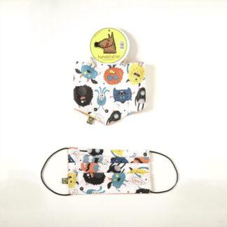 Hundehalstuch mit passender Gesichts Maske. Für den Partnerlook beim Coronaspaziergang. Von hundsfutter.w